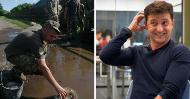 У Луцьку військових змусили вичерпувати воду з калюж перед приїздом Зеленського! (відео)